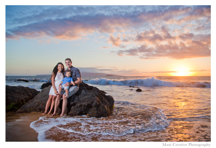 Maui family portrait session at sunset on the beach in Wailea. Photo by: Maui Creative Photography
