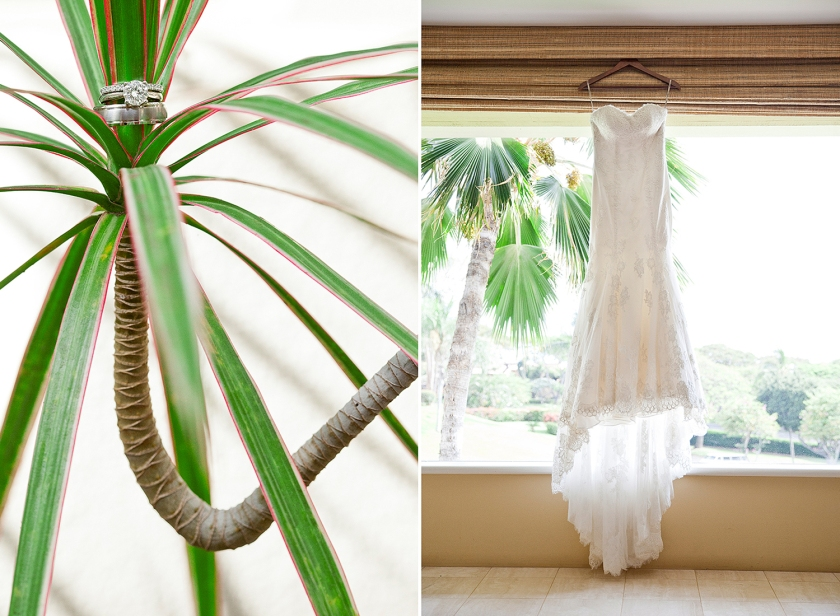Photograph on left is wedding rings styled on a green palm with pink edging. Photo on right is bride's lace detailed wedding dress hung in front of a large window.