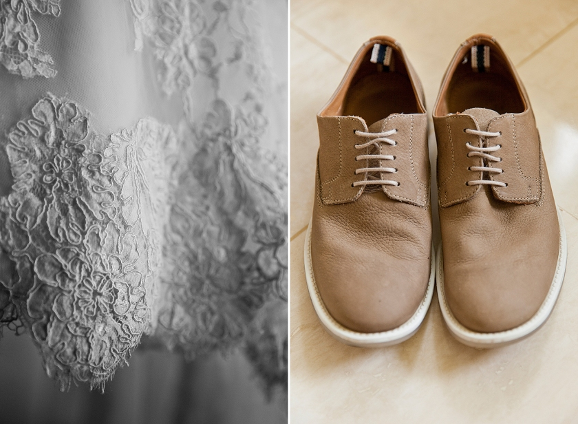 Black and white photograph on left is close up of the lace details of bride's wedding dress. Photo on right is detail shot of grooms tan leather shoes with white edging and laces.