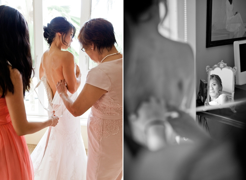 Photograph on left is bride holding up her wedding dress as her mother and bridesmaid begin to lace up her corset back gown. Black and white image on right: Bride catching her reflection in small mirror as
