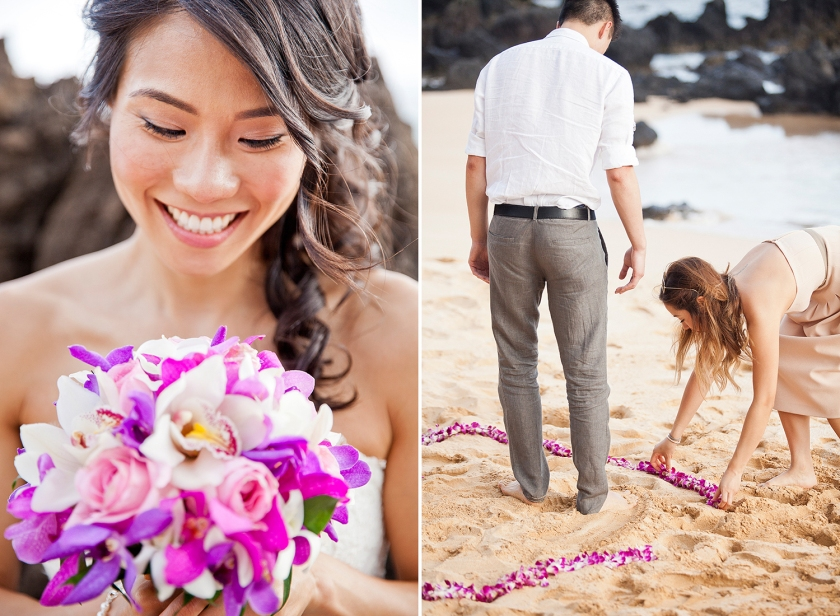 Photograph on left: Bride looking down and smiling at her colorful bouquet of purple and white orchids and pink roses. Photo on right: Guests prepare the beach ceremony site by laying out purple orchid leis into a circle in the sand.
