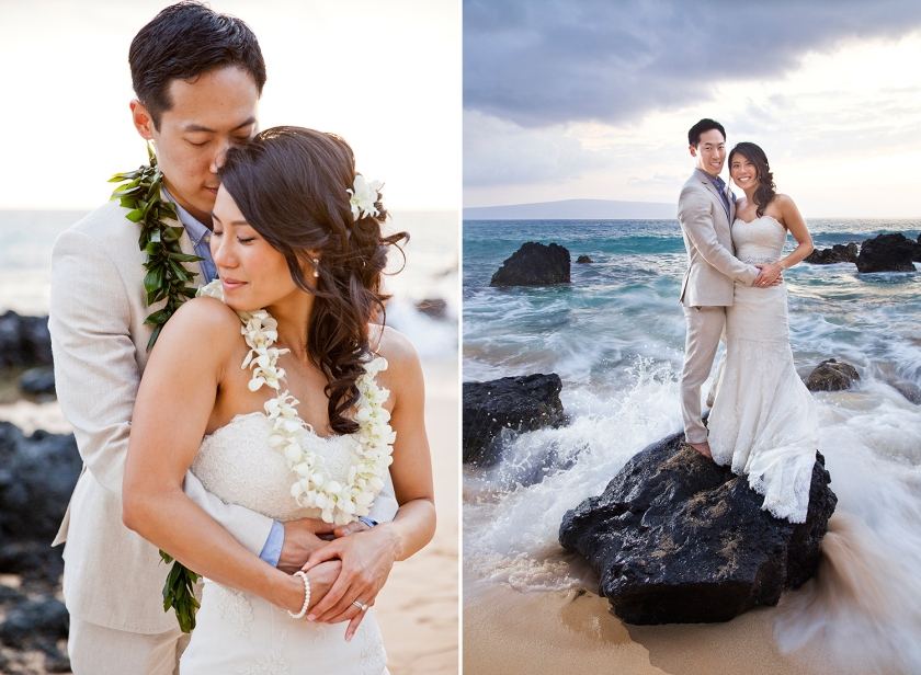 Photograph on right: Newlyweds standing together on lava rock at Makena Cove with water splashing around them. Photograph on left: Couple embrace each other after completing their marriage vows.