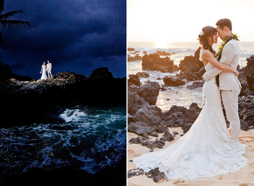Photograph on right: Newlyweds standing forehead to forehead feeling the Aloha, or breath of life. Photograph on left: Couple standing together on lava cliff with the ocean swirling around them at Makena Cove.