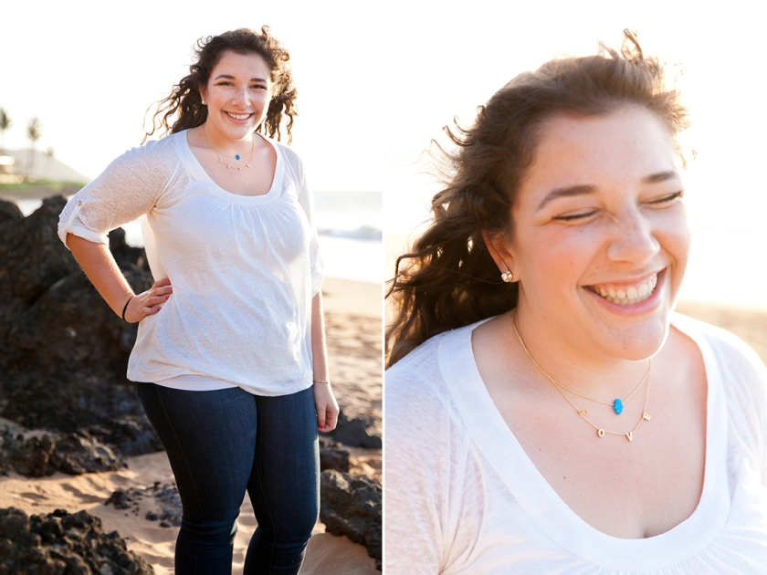 Natural light beach portrait and candid moment of a young woman in Wailea, Maui, Hawaii.