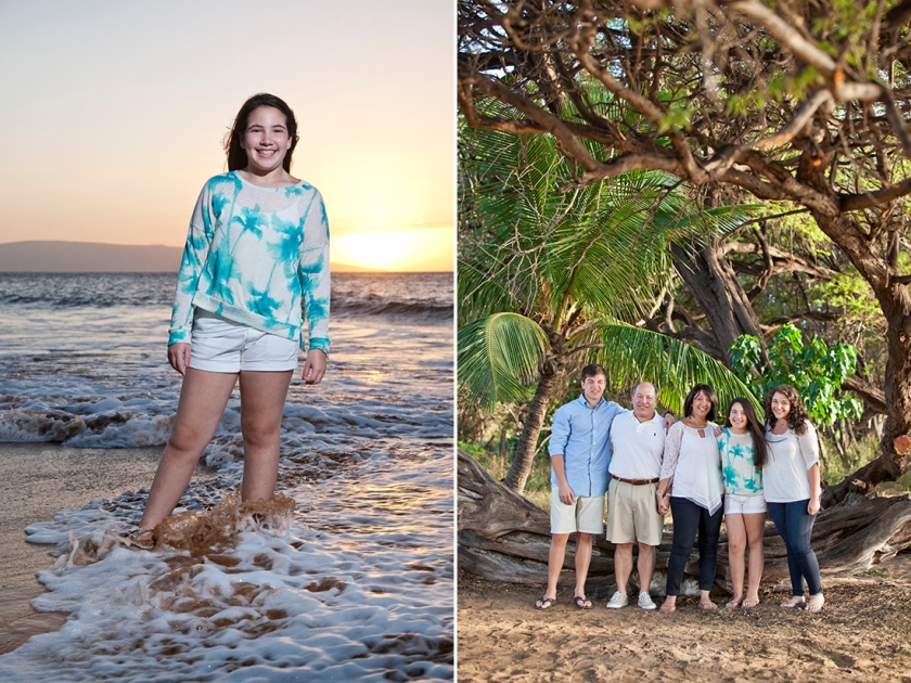 Sunset beach portrait in the surf at Po'olenalena beach in Wailea, Hawaii. (left) Family portrait under the keawe trees beachside on Maui. (right)