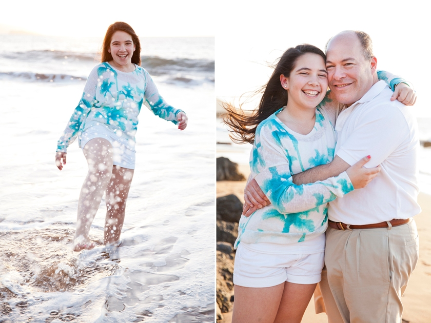 Teenage girl splashing water during a candid moment on Maui's Po'olenalena beach. (left) Father & daughter pose for a laughter filled portrait during their Maui vacation. (right)