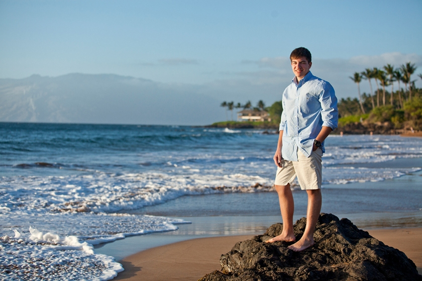 Young adult portrait showcasing South Maui's beautiful scenic view's of Halemahina, ocean and palm trees.