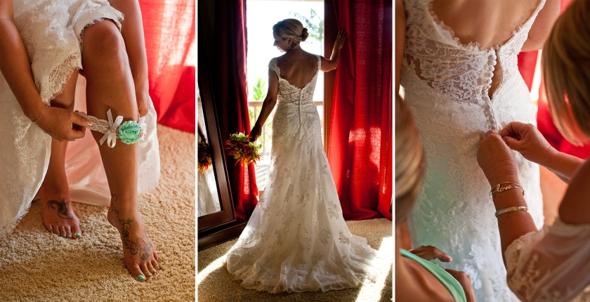bride; maui; hawaii; dress; love; wedding; getting ready; bridal shots