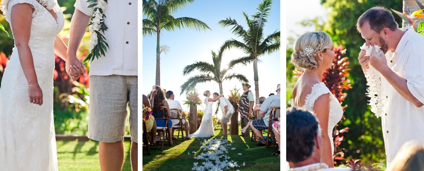 bride; groom; seaside; maui; hawaii; embrace; love; wedding; lei exchange; hawaii wedding