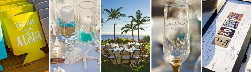 yellow; blue; wedding details; maui wedding details; reception decor; seaside themed wedding
