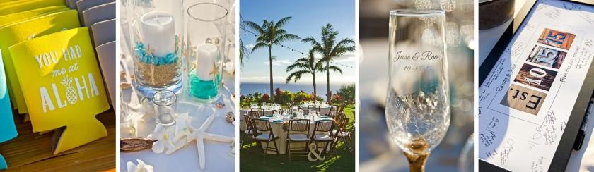 yellow; blue; wedding details; maui wedding details; reception decor; seaside themed wedding