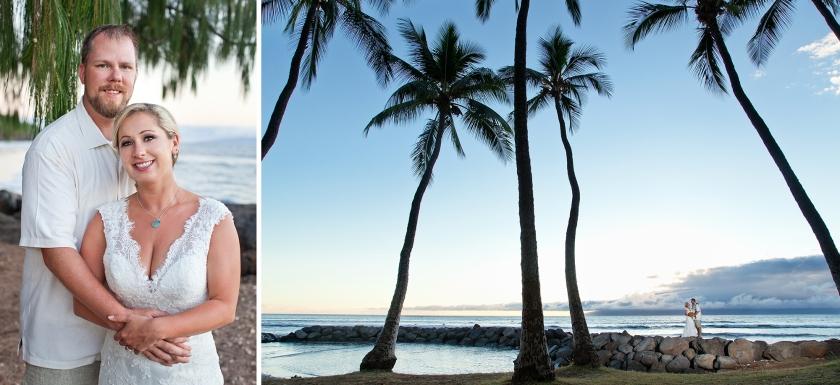 bride; groom; seaside; maui; hawaii; embrace; love; wedding; lahaina; palm trees