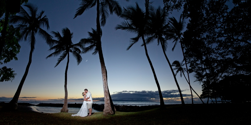 bride; groom; seaside; maui; hawaii; embrace; love; wedding