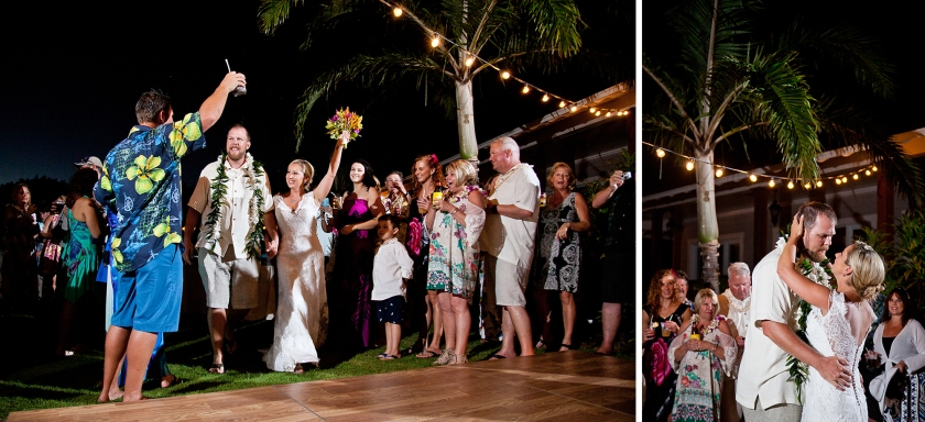 bride; groom; seaside; maui; hawaii; embrace; love; wedding; first dance; reception