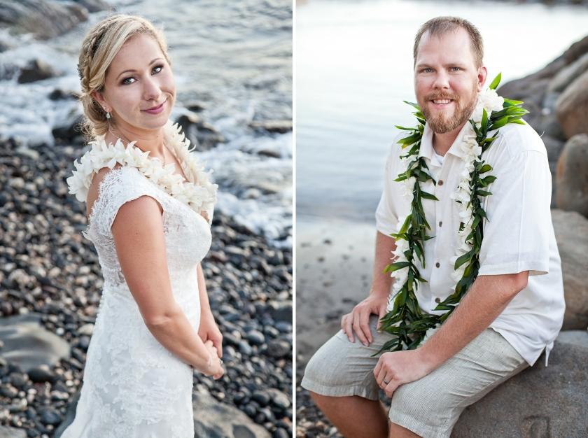 bride; groom; seaside; maui; hawaii; love; wedding
