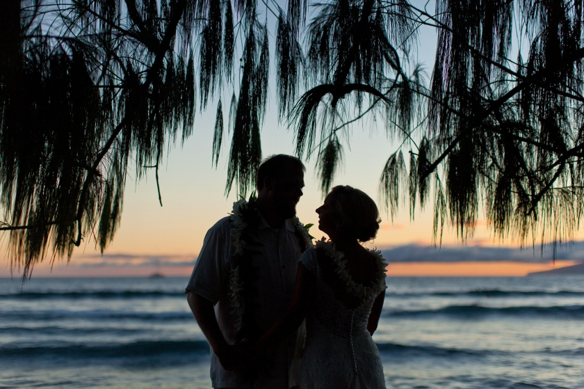 bride; groom; seaside; maui; hawaii; love; wedding